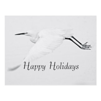 Grace of an Egret Happy Holidays Postcard