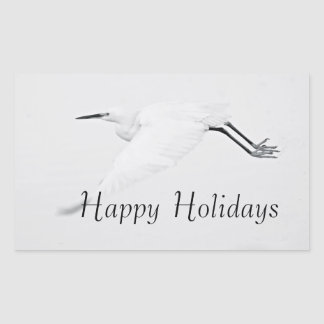 Grace of an Egret Happy Holidays Sticker