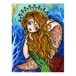 Grace Primitive Angel Folk Art Christmas Postcard