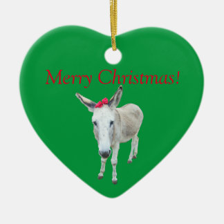 Grace the Donkey with a Red Bow Ceramic Heart Ornament