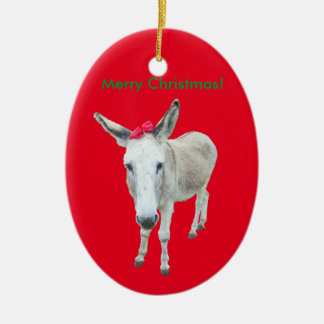 Grace the Donkey with a Red Bow Ceramic Oval Ornament
