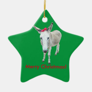Grace the Donkey with a Red Bow Ceramic Star Ornament