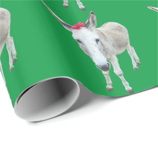Grace the Donkey with a Red Bow Wrapping Paper