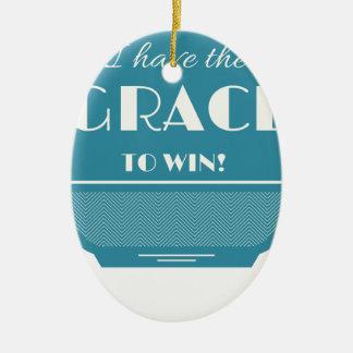 Grace to win ceramic oval ornament