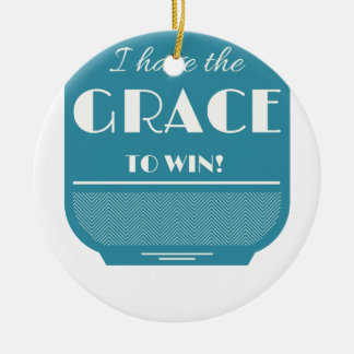 Grace to win round ceramic ornament