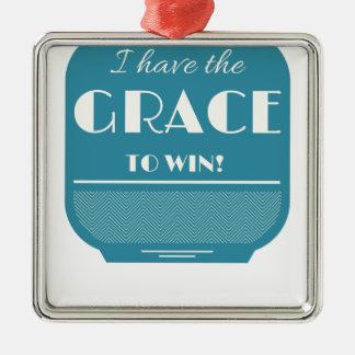 Grace to win Silver-Colored square ornament