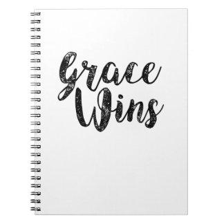 Grace Wins Inspirational Christians Jesus Peace Spiral Notebook