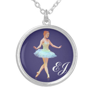 Graceful Ballerina Customizable Monogram Round Pendant Necklace