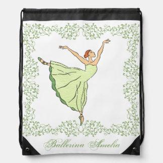 Graceful Ballerina Drawstring Bag