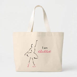 Graceful Ballet Dancer with Customizable Slogan Large Tote Bag