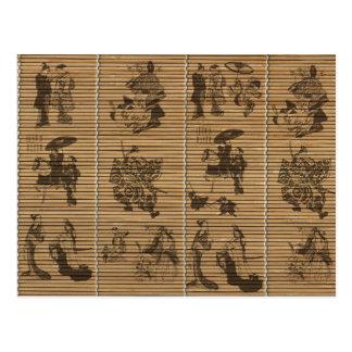 graceful Bamboo Look Custom pattern geisha samurai Postcard