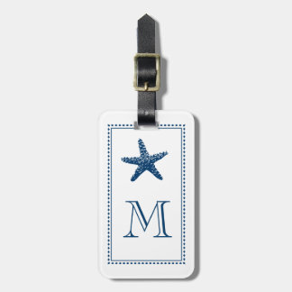 Graceful Beach Starfish Monogram BLUE Bag Tag