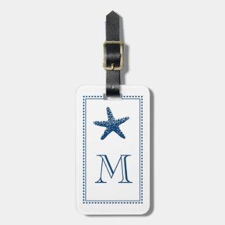 Graceful Beach Starfish Monogram BLUE Luggage Tag