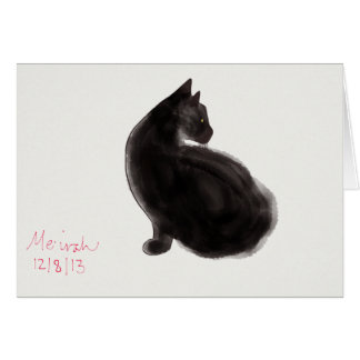 Graceful Black Cat adorns card