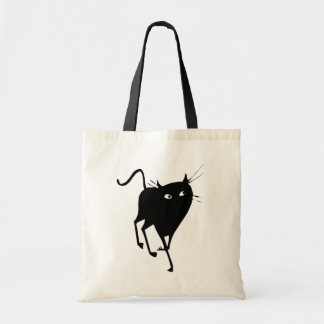 Graceful Black Cat Walking Tote Bag