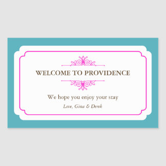Graceful border pink blue out of town gift bag