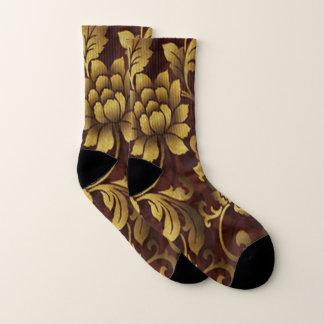 Graceful Brown Floral Socks 1