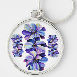 Graceful Delphinium flowers, watercolor painting Keychain