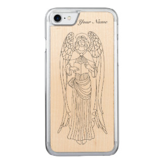 Graceful, Eleborately Adorned Reading Angel Design Carved iPhone 8/7 Case