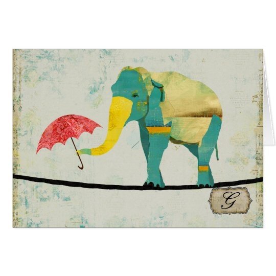Graceful Gold Elephant Monogram Notecard
