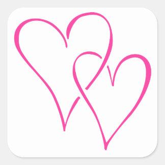 Graceful Interlocking Pink Hearts Square Sticker