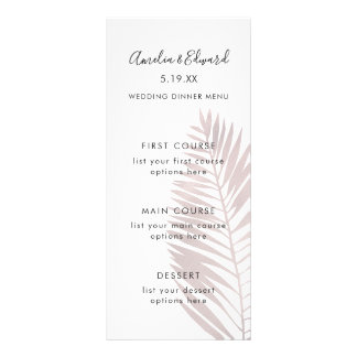 Graceful Palms Wedding Menu Card