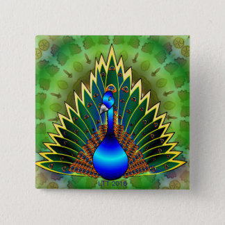 Graceful Peacock Button