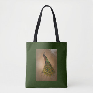 Graceful peacock on rich green tote bag