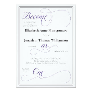 Graceful Purple Become as One Christian Wedding Card