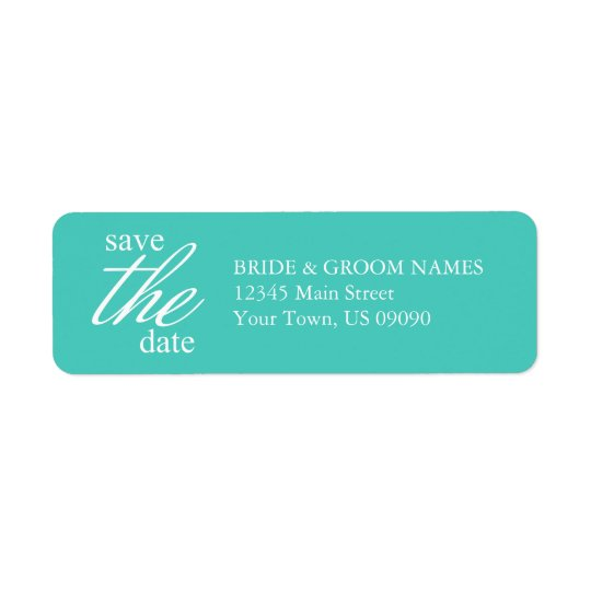 Graceful Save The Date Address Labels (Teal)