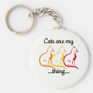 Graceful Sitting Kitties-Cats Are My Thing Basic Round Button Keychain