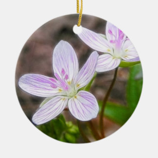 Graceful Spring Beauty Flowers Round Ceramic Ornament