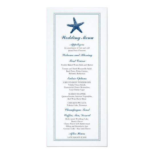 Graceful Starfish | Wedding Menu Card