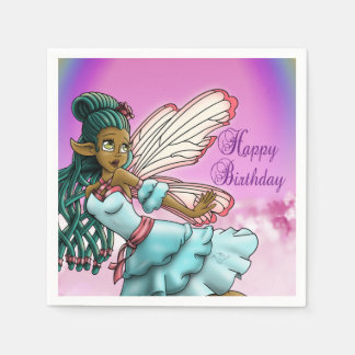 Gracefulness Birthday Paper Napkins, Fairy Paper Napkins