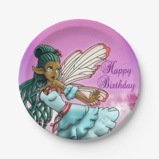 """Gracefulness Birthday Paper Plates 7"""", Fairy 7 Inch Paper Plate"""