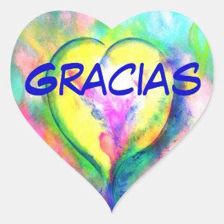 Gracias Corazon Etiqueta Engomada Heart Sticker