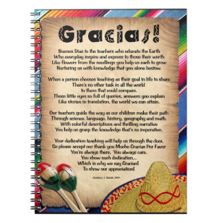 Gracias Teacher Appreciation Poem Note Book