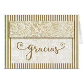 Gracias Thank You Spanish Gold Stripes Blank Card