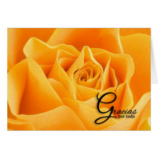 Gracias Thank You Spanish Language Yellow Rose Card