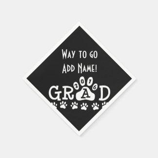 GRAD 2016 Black and White PAWS - Cute Graduation Paper Napkin
