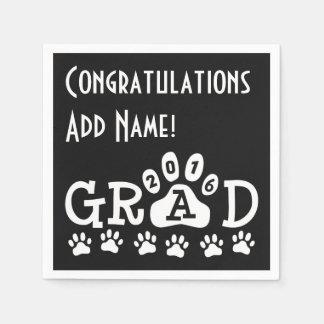 GRAD 2016 Black and White PAWS - Cute Graduation Paper Napkins