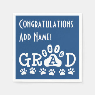 GRAD 2016 Blue and White PAWS - Cute Graduation Disposable Napkin
