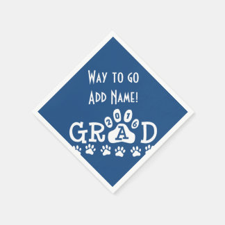 GRAD 2016 Blue and White PAWS - Cute Graduation Paper Napkin