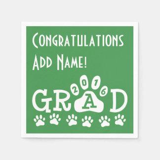 GRAD 2016 Green and White PAWS - Cute Graduation Paper Napkin