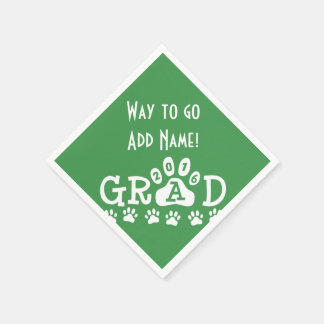 GRAD 2016 Green and White PAWS - Cute Graduation Paper Napkins