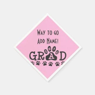 GRAD 2016 Pink Black PAWS - Cute Graduation Disposable Napkins