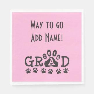 GRAD 2016 Pink Black PAWS - Cute Graduation Paper Napkin