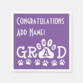 GRAD 2016 Purple and White PAWS - Cute Graduation Disposable Napkins