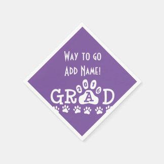 GRAD 2016 Purple and White PAWS - Cute Graduation Paper Napkin