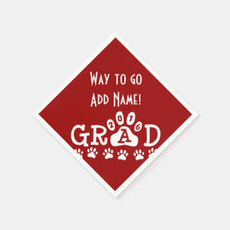 GRAD 2016 Red and White PAWS - Cute Graduation Disposable Napkins
